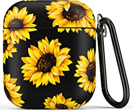 Airpod Case,Flexible Silicone Cover Cases for Airpods 1st/2nd with Cute Sunflowers Floral Design for Girls Women,Shockproof Protective TPU Airpod Case with Keychain Compatible with Wireless Charging