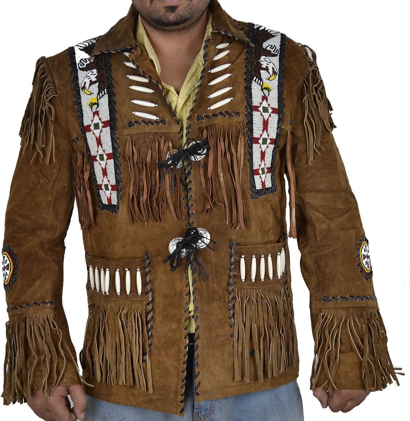 SleekHides Men's Western Cowboy Suede Leather Jacket Fringed & Beaded