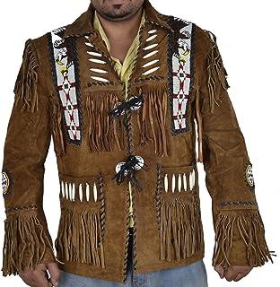 SleekHides Men`s Western Cowboy Suede Leather Jacket Fringed & Beaded