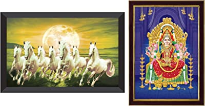 SAF 7 Horses Sunrise Large Framed Up Coated Digital Reprint 14 Inch X 20 Inch Painting () & 'Lord Santoshi MATA Ji' Painting (Synthetic, 20 cm X 32 cm X 3 cm, Sparkle Coated Digital Reprint) Combo