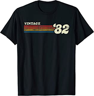 Vintage 1982 Chest Stripe 38th Birthday T-Shirt
