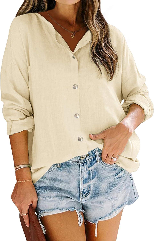 Runcati Womens V Neck Shirts Button Down Linen Cotton Long Sleeve Cuffed Blouse Basic Plain Work Tunic Tops