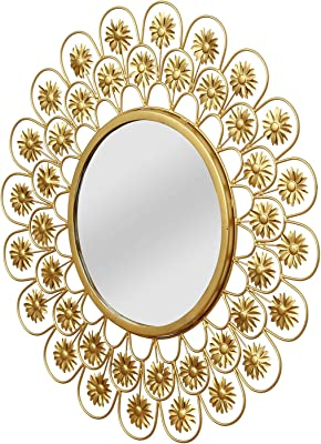 Chronikle Golden Round Flower Desing Antique Looking Decorative Metal Wall Mounted Wall Mirror ( 24.01 x 24.01 Inch )