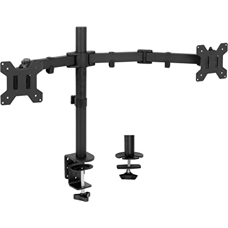 VIVO Full Motion Dual Monitor Desk Mount Clamp VESA Stand w/Double Center Arm Joint, Fits up to 32 inch Screens, STAND-V102D