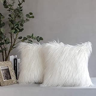 Best Phantoscope Pack of 2 Faux Fur Throw Pillow Covers Cushion Covers Luxury Soft Decorative Pillowcase Fuzzy Pillow Covers for Bed/Couch,Cream White 20 x 20 Inches Review