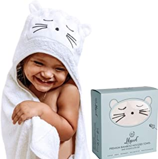 XL Baby Towels with Hood for Boys and Girls, White Kitten Face - Organic Bamboo Hooded Towel and Washcloth Set for Infants, Toddlers - Extra Soft, Hypoallergenic, Baby Shower Gift, Bath & Beach Towel