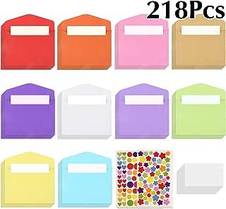 TUPARKA 218 Piezas Mini Sobres Multicolores con Pegatinas de Estrellas de Varios Formas para Materiales de Regalo de Bodas y Fiestas de Cumpleaños