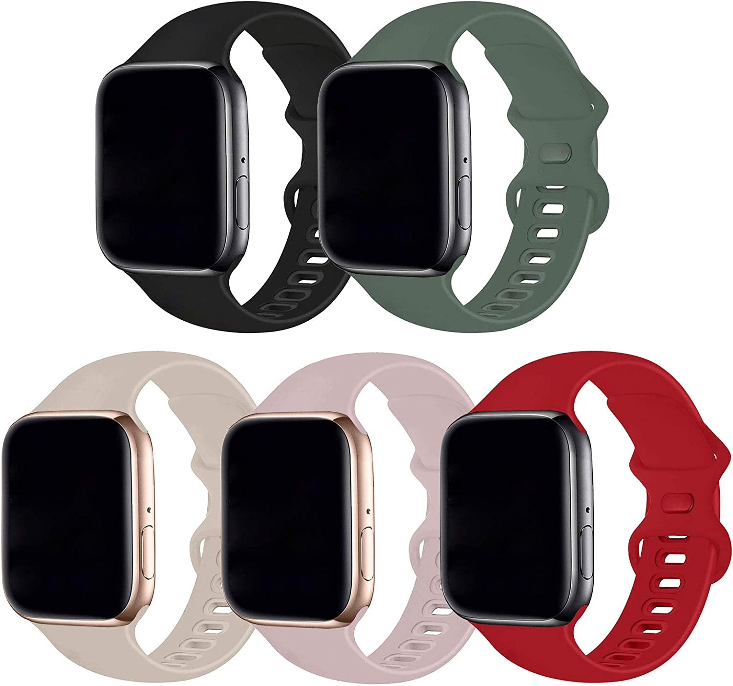 Bifeiyo 5 Pack Compatible with Apple Watch Band 38mm 40mm SM,Soft Silicone Sport Replacement Straps Compatible for iWatch Series6/5/4/3/2/1/SE(Black/Pine Green/Stone/Pink Sand/Red)