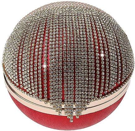 Ladies Handbag Tassel Rhinestones Evening Bag Finger Ring Diamonds Wedding Clutch Handbags Chain Shoulder Party (Color : Red)