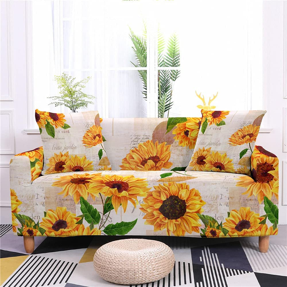 Direct store AMZAO High Stretch Sofa Covers 1 2 Sunflower Printed 4 3 Soldering Seater