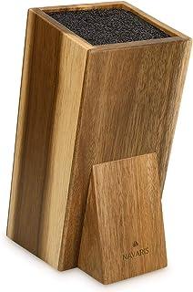 Navaris Porte-Couteaux en Bois - Bloc de Rangement à Couteau Universel en Acacia 25 x 15 x 10,5 cm - Bloc Couteau de Cuisi...