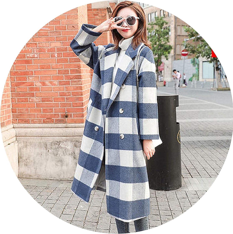 SurpriseShow Women Coats Autumn and Winter Wear Popular Plaid Woolen Suit Collar Woolen Long Coat