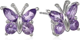 گوشواره های گل میخ پروانه نقره ای اصلی یا ساخته شده با سنگهای قیمتی