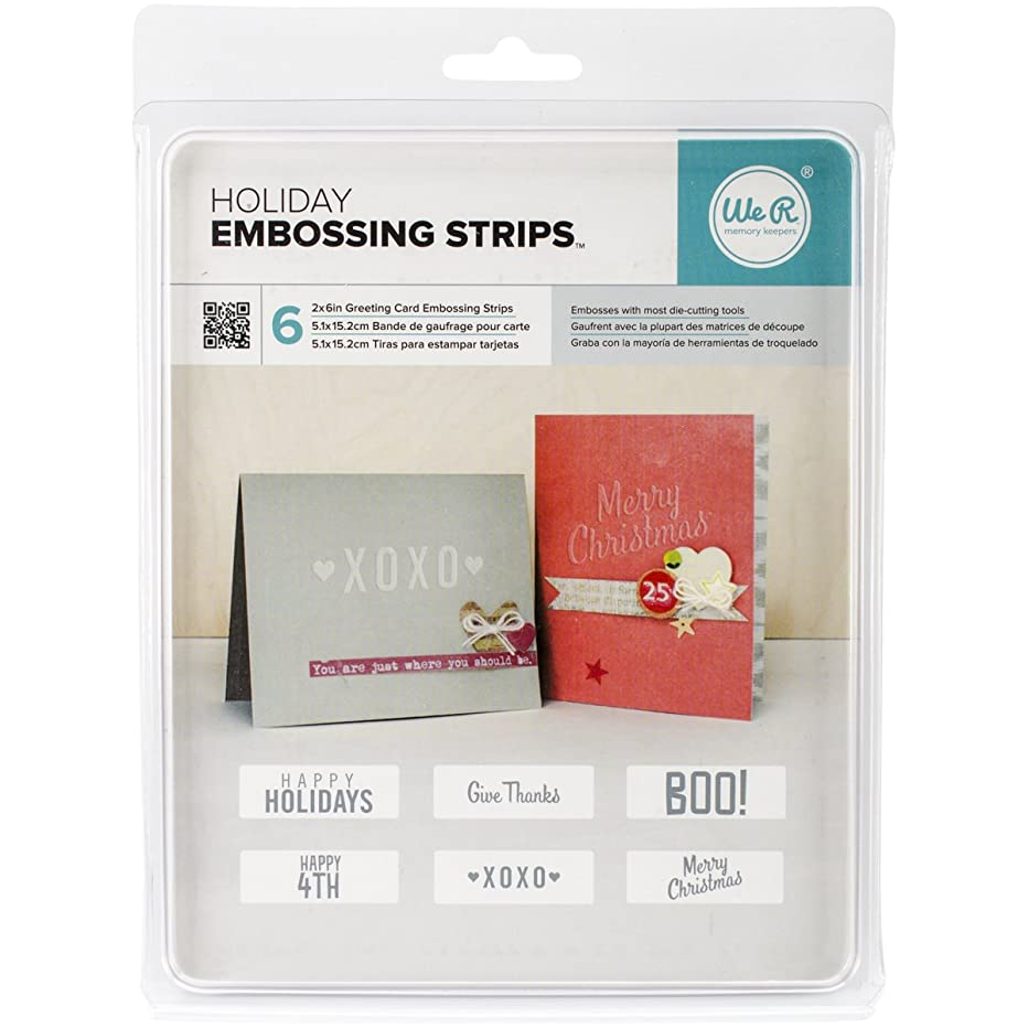 American Crafts 662597 We R Memories 6 Piece Embossing Strips Phrases, 6 x 2, Holiday