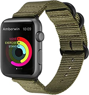 Amberwin Compatible for Apple Watch Band 44mm 42mm 40mm 38mm, Nylon NATO iWatch Band Replacement Strap for Apple Watch Ser...