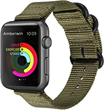 Amberwin Compatible for Apple Watch Band 44mm 42mm 40mm 38mm, Nylon NATO iWatch Band Replacement Strap for Apple Watch SE ...