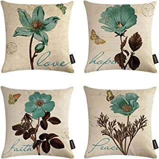 Ussuperstar Set of 4 Throw Pillow Covers Decorative Boho Cushion Cover Throw Floral Printed Pillow Case 18 X 18 Inch Pillowcase Multicolor (BV3)