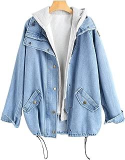 ZAFUL Women's Hooded Denim Jacket Plus Size Drawstring Fashion Boyfriend Trends Two Piece Coat Outerwear