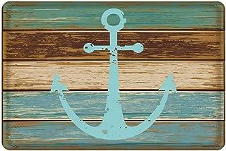 Uphome Bathroom Rug, Vintage Retro Nautical Anchor Flannel Microfiber Foam Bath Mat - Turquoise and Brown Non-Slip Soft Absorbent Bathroom Mat Kitchen Floor Carpet (20