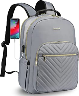 LOVEVOOK Laptop Backpack for Women Quilted Business Work Computer Bags Stylish Purse Bookbag, 15.6-Inch, Grey