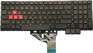 AUTENS 交換用USキーボード HP Omen 15-ce 15-ce000 15-ce100 15t-ce00 15t-ce100シリーズ ノートパソコン用 フレームなし 赤文字 バックライト付き