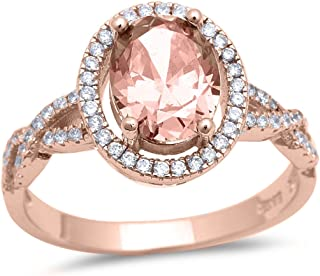 Halo Infinity Shank Ring Oval Simulated Morganite Round CZ Rose Tone Plated 925 Sterling Silver