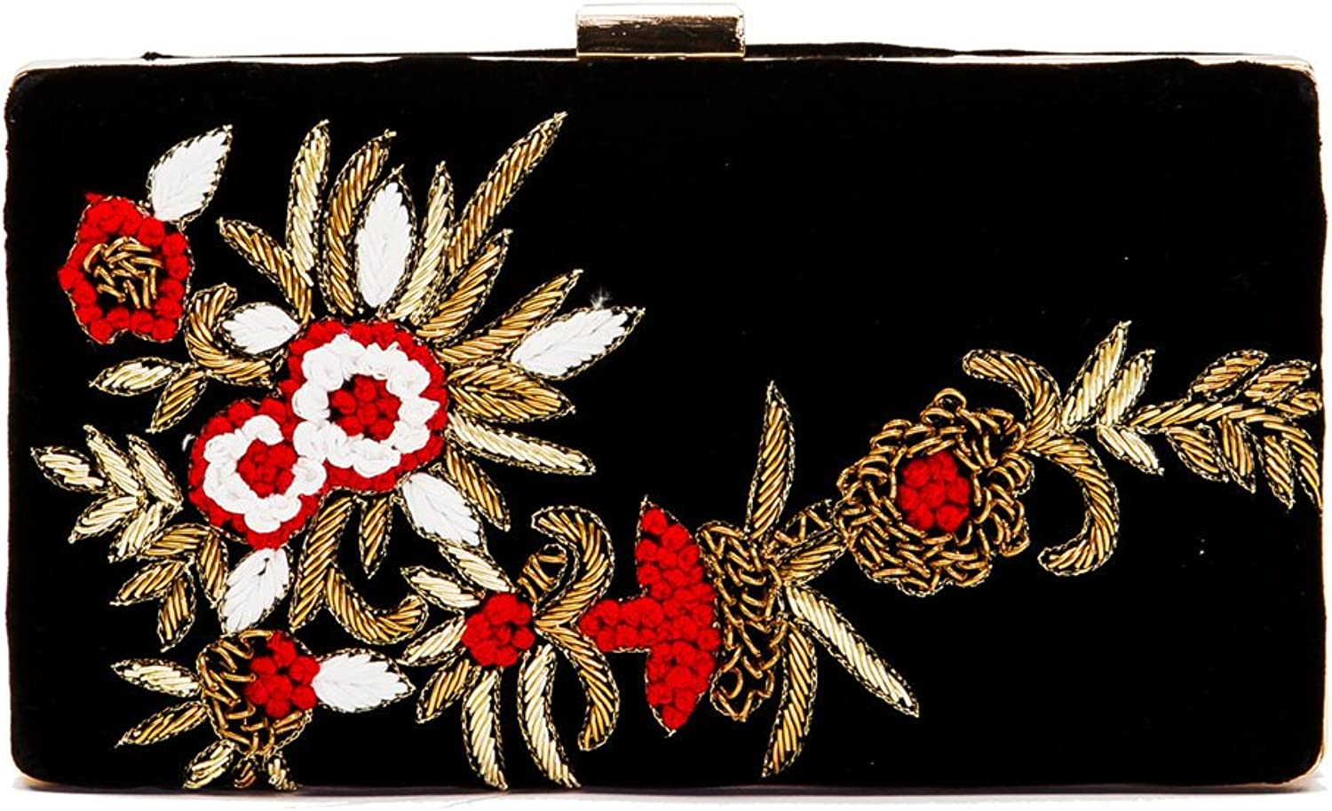 Black Velvet Clutch with Floral Embroidery and Appliqué