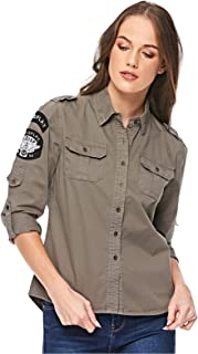 Diva London Cindi army Shirt - S, GREEN