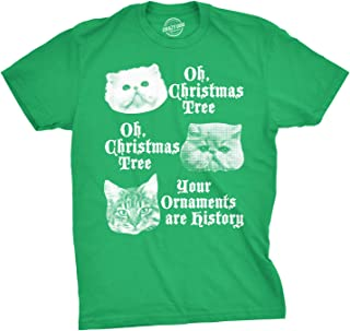 Mens Oh Christmas Tree Your Ornaments are History Tshirt Funny Cat Holiday Tee for Guys
