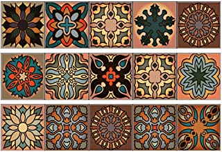 CHengQiSM Tile Stickers Murals Peel and Stick Tile Backsplash 3 Pieces Staircase Stickers for Home Kitchen Bathroom Decor Staircase Decal Stair Mural Mexican Tile Decals