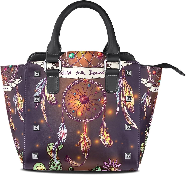 My Little Nest Women's Top Handle Satchel Handbag Cartoon Beautiful Boho Style Dreamcatcher Pattern Ladies PU Leather Shoulder Bag Crossbody Bag