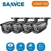 SANNCE 4 Pack 2.0MP 1/2.9 Progressive Scan CMOS 1080P AHD / 1980 TVL Security Camera, IP66 Weatherproof in/Outdoor Fixed CCTV Camera