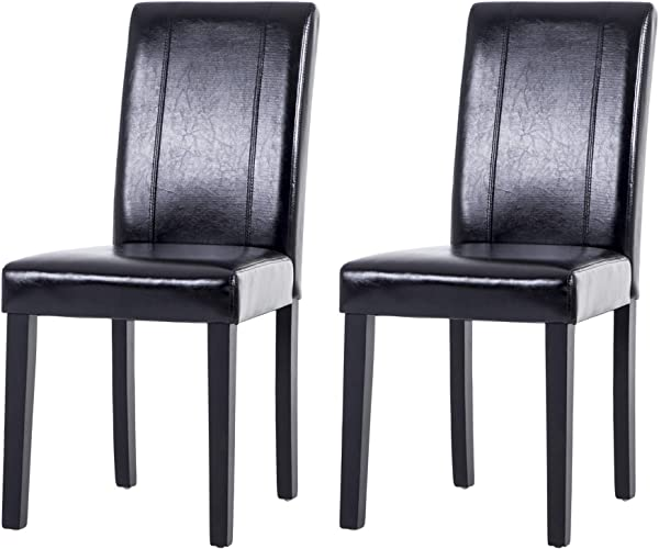 LSSPAID Urban Style Solid Wood Leatherette Padded Parson Chair Black Set Of 2