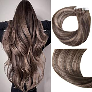Mushroom Brown Hair Extensions 50g 20Pcs 20inch Tape In Hair Extensions Human Hair Ombre Dark Brown Thick End For Full Head No Tangle Silky Straight Balayage Extensions(MB#20'')