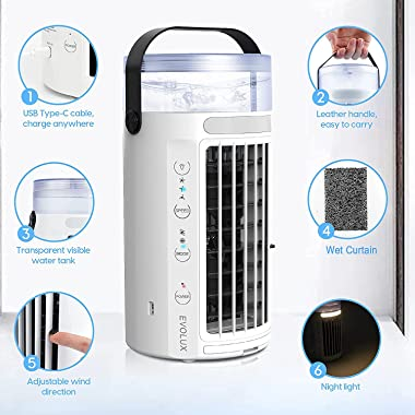 Portable Air Conditioner Fan Evaporative Cooling Fan, 4 in 1 Humidifier Quiet Misting Air Cooler,7 Colors LED Light & 3 S