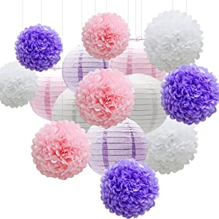 KAXIXI Hanging Party Decorations Set, 15pcs Pink Purple White Paper Flowers Pom Poms Balls and Paper Lanterns for Wedding Birthday Bridal Baby Shower Graduation