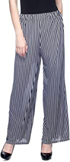ALIYAA Casual wear Comfortable Women's Striped Black and White Palazzo/Trouser/ 2 mask Free