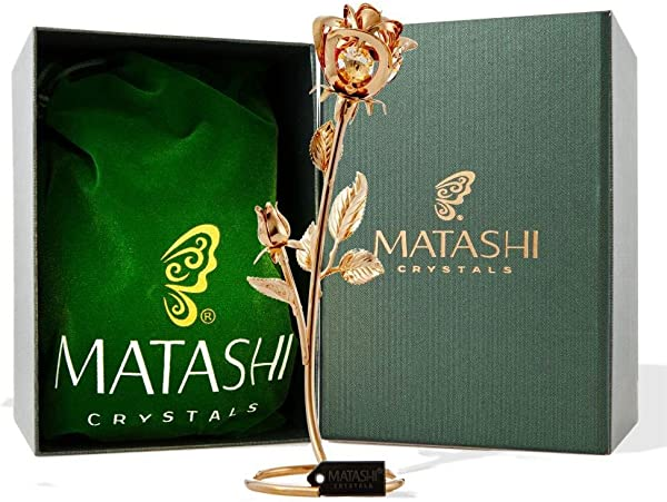 Matashi CT3185 Everlasting 7 5 24K Gold Plated Long Stem Rose Flower With Premium Crystals