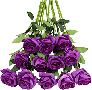 Tifuly 12PCS Rose Artificial Flower, Single Stem Fake Floral Bridal Wedding Bouquet, Realistic Blossom Flora for Home Garden Party Hotel Office Decorations(Purple)