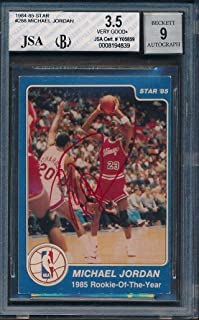 1984/85 Star #288 Michael Jordan BVG Certified Authentic Auto *4839 - JSA Certified - Basketball Slabbed Autographed Rookie Cards