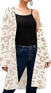 Women's Long Sleeves Leopard Print Knitting Cardigan Open Front Warm Sweater Outwear Coats with Pocket