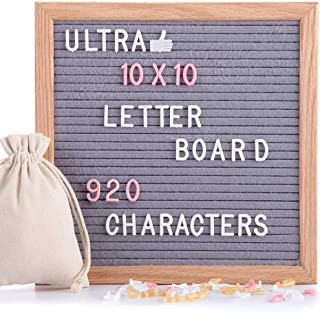 Felt Letter Board Gray 10x10 Inches with Stand, 920 PCS Changeable Letters & Lovely Emojis, Solid Oak Wood Material, Decor...