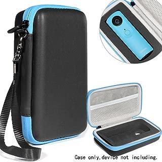 Protective Case for Ricoh Theta S, V 360 and Theta SC 360 Degree Spherica, Customized Dense Absorbing Sturdy Foam Inlay, Mesh Pocket Inside Matte Black+Blue Zip