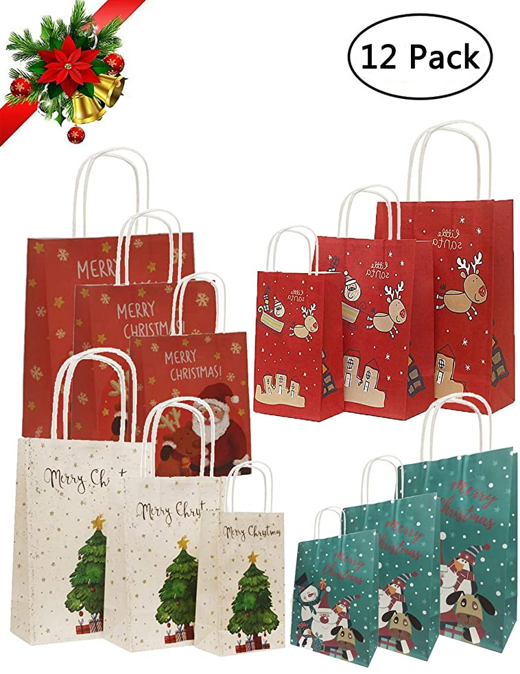 Youniker 12 Pack Christmas Gift Bags - Merry Christmas Kraft Paper Bags with Handles,4 Assorted Designs in 3 Sizes(4 Large,4 Medium,4 Small) for Christmas Gifts Wrapping Holiday Wrapping Goodie Bags