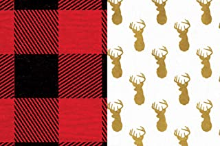 Buffalo Plaid & Deer Rustic Woodland Lumberjack Gift Wrap Tissue Paper for All Occasions. 24-Pack Includes 12 Sheets of Each Pattern. Large 20 x 30 Squares, Red, Black, Gold, White