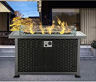 oneinmil Gas Fire Pit Table - 44-Inch Outdoor Propane Fire Pit Table with Fire Glass & Glass Wind Guard & Temperature Glass Tabletop & Waterproof Cover (Black/Rectangle, Rattan)