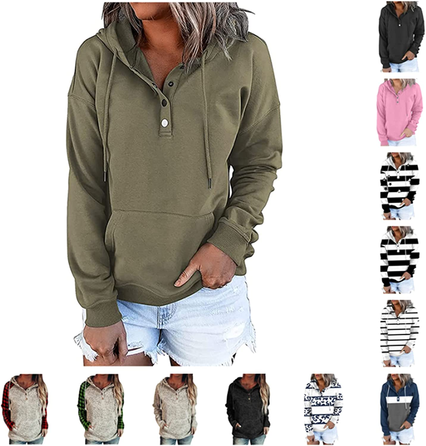 INESVER Sweatshirts for Women Casual Drawstring Hoodies Color Block Pullover Tops Button Down Blouse Hoodie