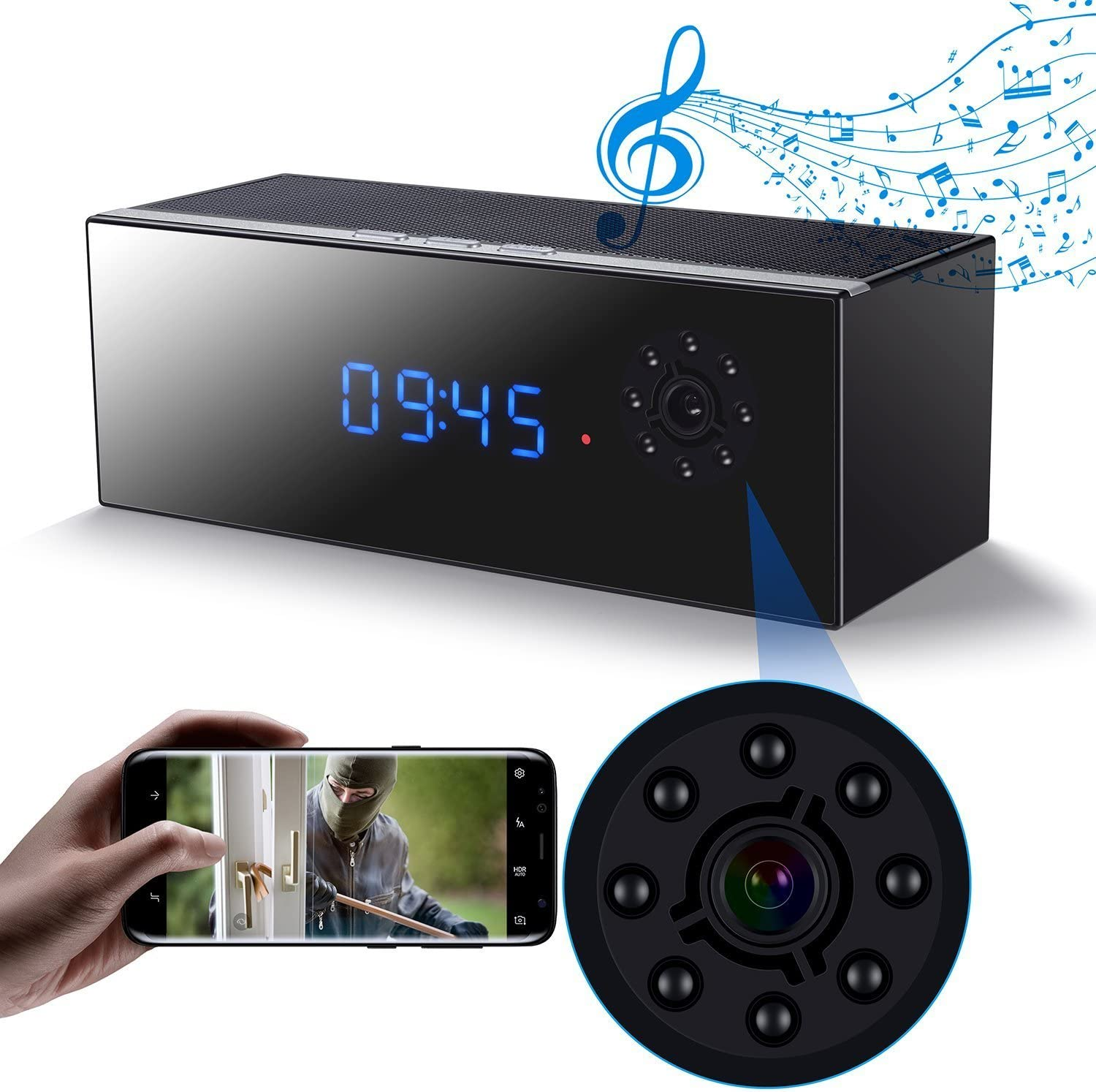 Spy Fixed price for sale Hidden Camera Clock in Night Speaker with Vision Bluetooth Memphis Mall