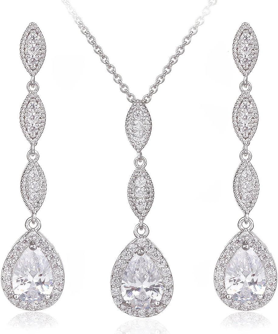 Wordless Love Teardrop Pear Shape CZ Necklace Pierced Earrings Women Wedding Jewelry Sets