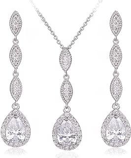 Wordless Love Teardrop Pear Shape CZ Necklace Pierced, White, Size No Size